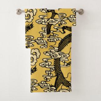 Goldschwarzes chinesisches Drache-Muster Badhandtuch Set