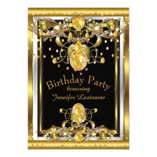 Goldschwarzes Jewelled Geburtstags-Party Einladung Karte