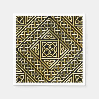 Goldschwarzes Quadrat formt keltisches Servietten