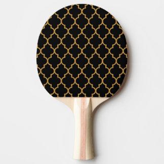 Goldschwarzes Quatrefoil Muster Tischtennis Schläger