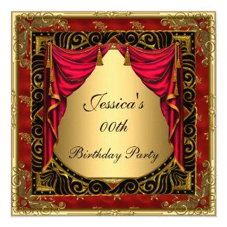 Goldschwarzes rotes retro Geburtstags-Party Quadratische 13,3 Cm Einladungskarte