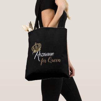 Goldschwarzweiss-Kronen-Königin-Namen-Tasche Tasche