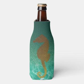 GoldSeepferd-und -türkis-Glitzer-Flasche cooler Flaschenkühler