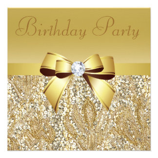 GoldSequins Bogen u Diamant-Geburtstags-Party Einladungskarte