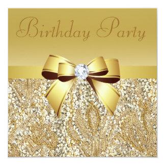 GoldSequins, Bogen u. Diamant-Geburtstags-Party Quadratische 13,3 Cm Einladungskarte