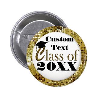 Goldsequins-Klasse des Knopfes des Abschluss-20XX Runder Button 5,7 Cm