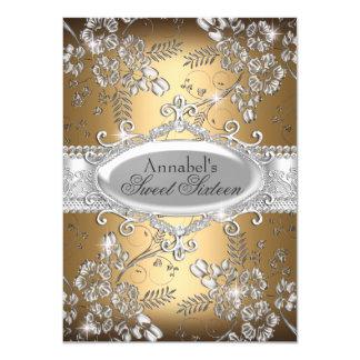 Goldsilber-Schein-Blumen-Bonbon 16 laden ein 11,4 X 15,9 Cm Einladungskarte