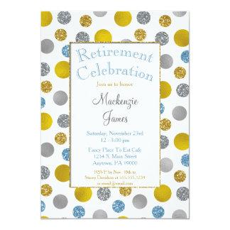Goldsilbernes Blau punktiert Ruhestands-Einladung 12,7 X 17,8 Cm Einladungskarte