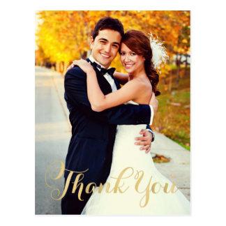 Goldskript der Hochzeits-Foto-Mitteilungskarten-  Postkarten