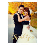 Goldskript des Hochzeits-Foto-| danken Ihnen Mitteilungskarte