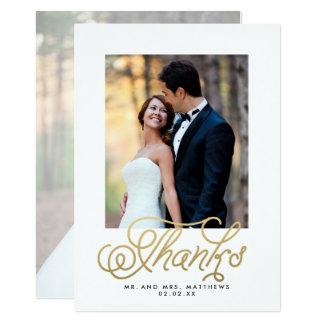 Goldskript-Hochzeits-Foto danken Ihnen 12,7 X 17,8 Cm Einladungskarte