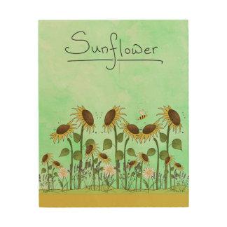 Goldsommer-Sonnenblume-Illustration auf tadellosem Holzdruck