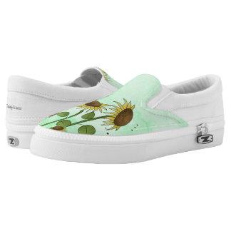 Goldsommer-Sonnenblume-Illustration auf tadellosem Slip-On Sneaker