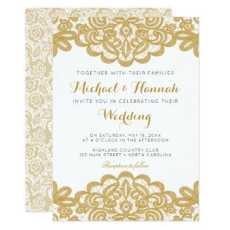 Goldspitze-elegante Hochzeits-Einladung Karte