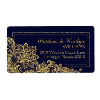 Goldspitze-Marine-moderner Hochzeits-Aufkleber