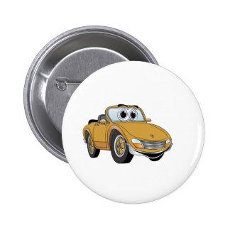 Goldsport-Auto-Kabriolett-Cartoon Anstecknadelbutton
