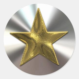 Goldstern-und -silber-Aufkleber Runder Aufkleber