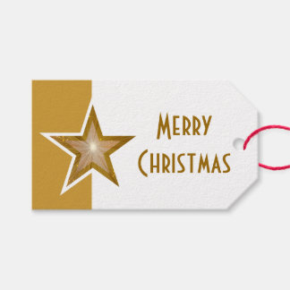 Goldsterndruck Weiß froher Weihnachten Gold Geschenkanhänger