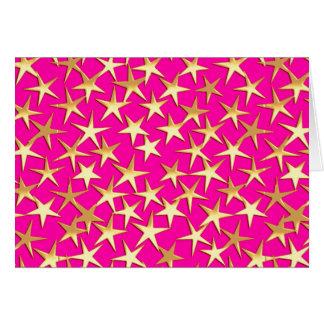Goldsterne auf pinkfarbenem Rosa Karte