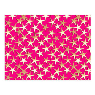 Goldsterne auf pinkfarbenem Rosa Postkarte