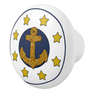 Goldsterne des GoldImitat-Glitter-Anker-| nautisch Keramikknauf