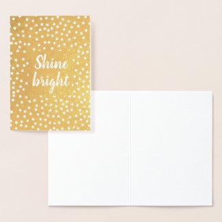 Goldsterne glänzen helles folienkarte