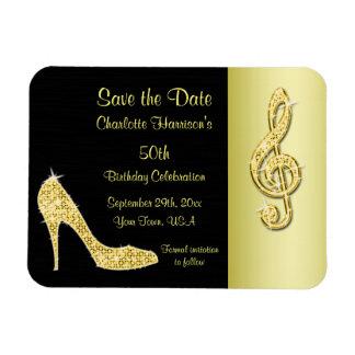 Goldstilett u. dreifache Spalte 50. Save the Date Magnet