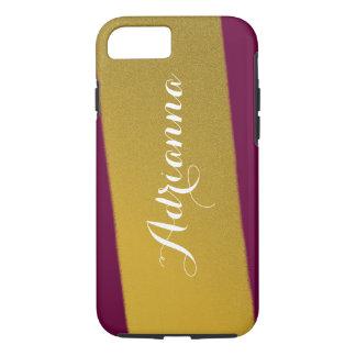 Goldstreifen-modernes Muster-tiefe Himbeere iPhone 8/7 Hülle