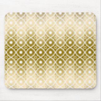 Goldstreifen u. weißes Quatrefoil geometrisch Mousepads