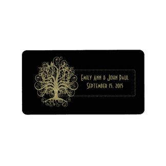 Goldstrudel-Baum auf Schwarzem mit Adressaufkleber