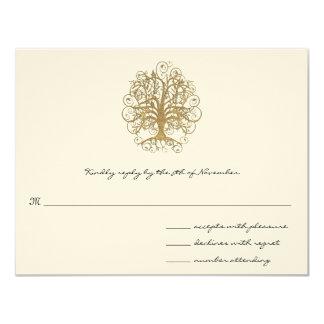 Goldstrudel-Baum-Hochzeits-Wartekarte Karte