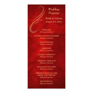 Goldstrudel-helles rotes Hochzeits-Programm Personalisierte Werbekarte
