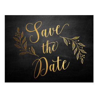 Goldtafel-rustikale Save the Date Postkarte
