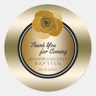 Goldtaufe danken Ihnen | Rosen-Blumen-Taufe Runder Aufkleber