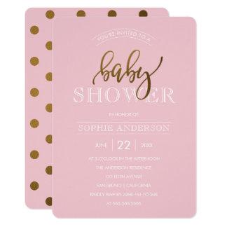 GoldTupfen auf Babyparty des Pastellrosa-  12,7 X 17,8 Cm Einladungskarte