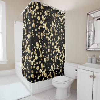 GoldTupfen auf einem schwarzen Hintergrund. Duschvorhang