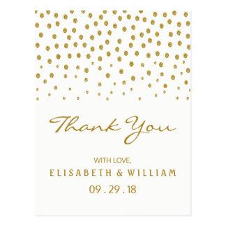 GoldTupfen-Hochzeit danken Ihnen Postkarte