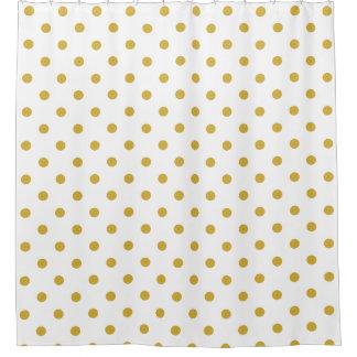 GoldTupfen-Muster auf Weiß Duschvorhang