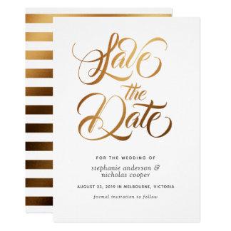 Goldtypographie-Bürstentext Save the Date Karte