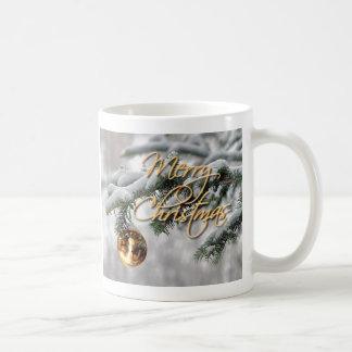 GOLDverzierung u. TANNEN-AST durch SHARON SHARPE Kaffeetasse