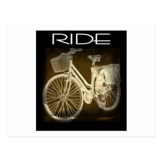 GoldVintage Fahrrad-Fahrt Postkarte