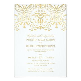 GoldVintager Glamour der Hochzeits-Einladungs-| 12,7 X 17,8 Cm Einladungskarte
