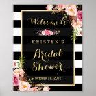 GoldVintages Blumenstreifen-Brautparty-Zeichen Poster