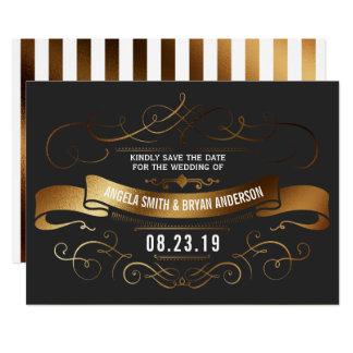 GoldVintages verziertes Save the Date Karte