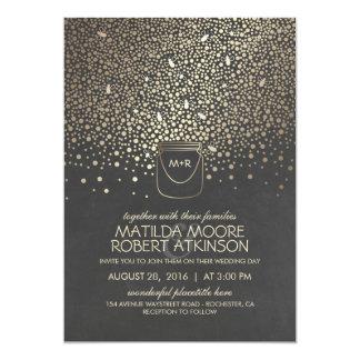 GoldWeckglas-Leuchtkäfer-rustikale Hochzeit Karte