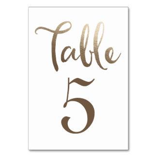 GoldWedding Tischnummer-Typografie-Karten Karte