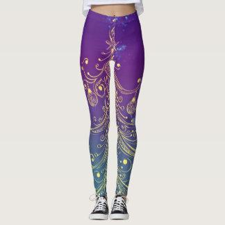 Goldweihnachtsbaum-Motiv-lila aquamarines Leggings