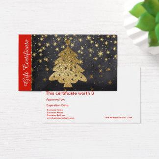 GoldweihnachtsFeriengeschenk-Karten-Zertifikat Visitenkarte