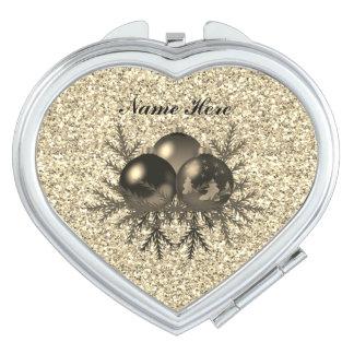Goldweihnachtsflitter auf GoldGlitter Taschenspiegel