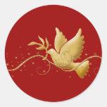 Goldweihnachtstaube Friedensdes christlichen Ereig Stickers